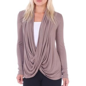 Wrap faux crossover draping fine knit long sleeve